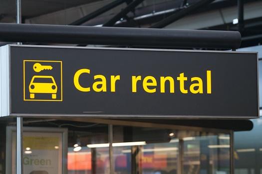 Car rental sign at a airport